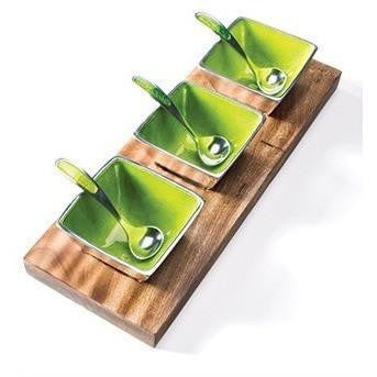 Brushed Lime Aluminium Dip Bowl on Wooden Tray-Kitchenware-Retail Therapy Interiors
