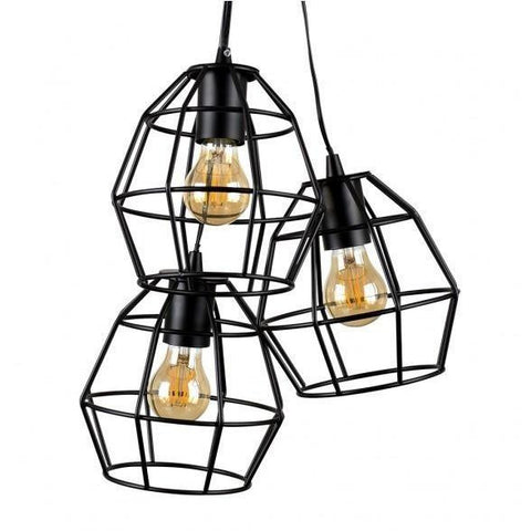 Caged Basket 3 Way Pendant Black-Lighting-Retail Therapy Interiors