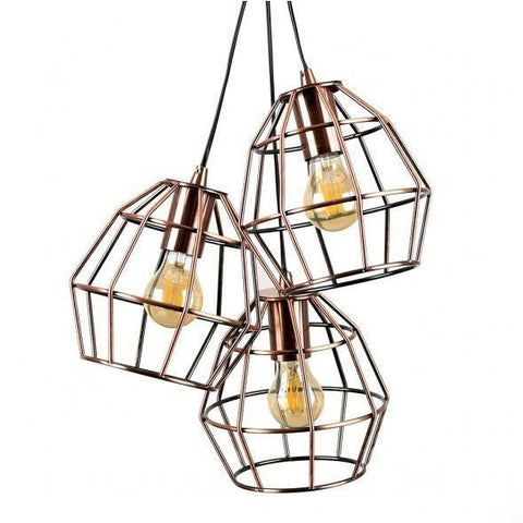 Caged Basket 3 Way Pendant Copper-Lighting-Retail Therapy Interiors