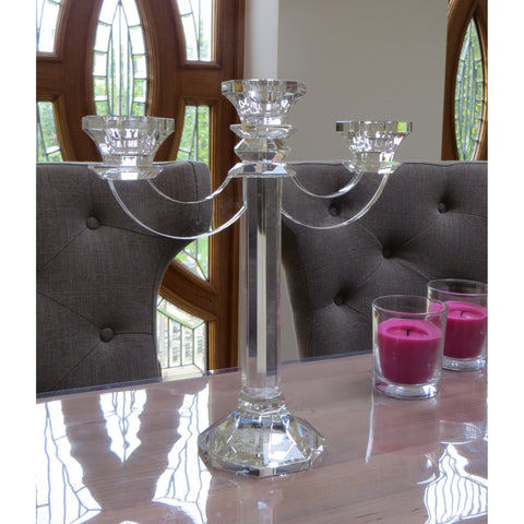 Clear Cut Contemporary 3 Candelabra 27cms-Accessories-Retail Therapy Interiors