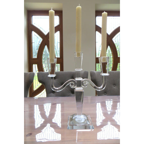 Clear Cut Glass Square Candelabra 29cms-Accessories-Retail Therapy Interiors