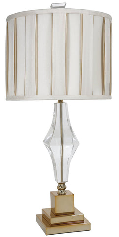 Cut Glass Table Lamp With Ivory and Gold Pleated Shade-Lighting-Retail Therapy Interiors