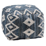 Denim Aztec Pouffe-Soft Furnishings-Retail Therapy Interiors