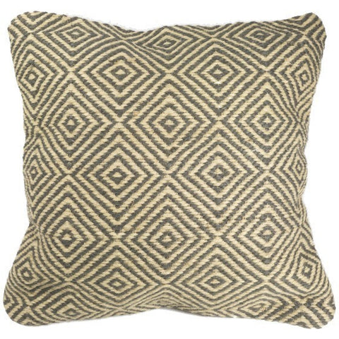 Diamond Pattern Cushion 100% Jute Grey-Soft Furnishings-Retail Therapy Interiors