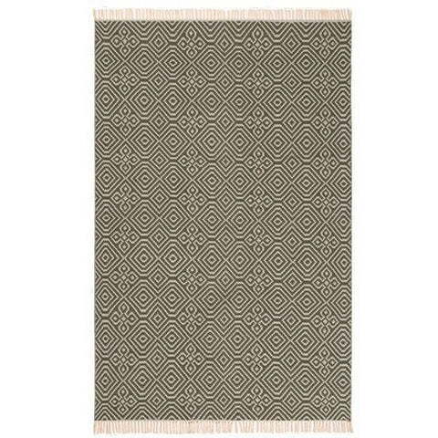 Diamond Pattern Kilim Rug Recycled PET Grey-Soft Furnishings-Retail Therapy Interiors