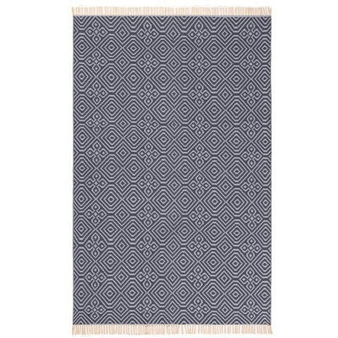Diamond Pattern Kilim Rug Recycled PET Indigo-Soft Furnishings-Retail Therapy Interiors