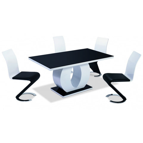 Edenhall High Gloss Dining Table White with Black Glass Top-Furniture-Retail Therapy Interiors
