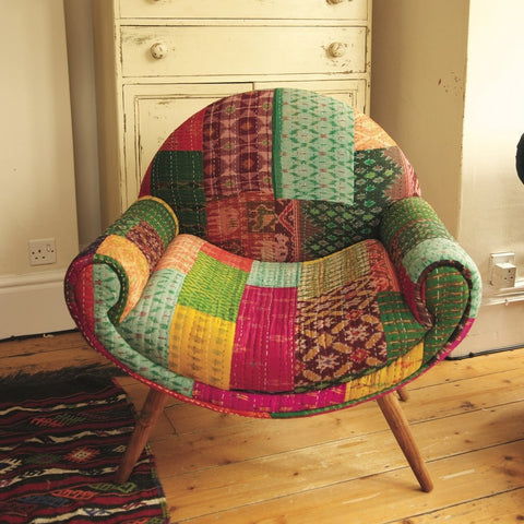 Fairtrade Bold Retro Kantha Nest Chair-Furniture-Retail Therapy Interiors