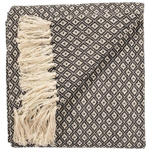 Fairtrade Diamond Weave Throw Black 130 x 180cms-Soft Furnishings-Retail Therapy Interiors