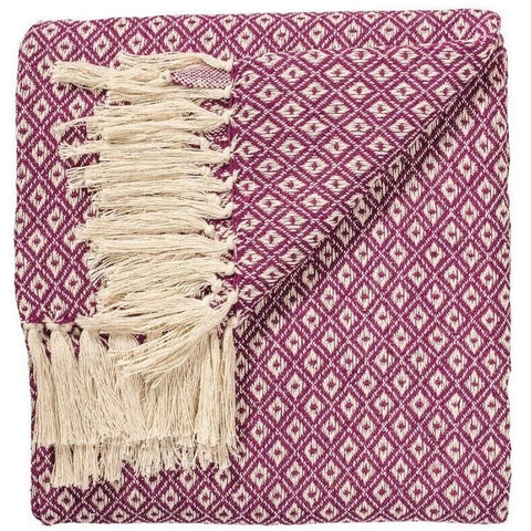 Fairtrade Diamond Weave Throw Purple 130 x 180cms-Soft Furnishings-Retail Therapy Interiors