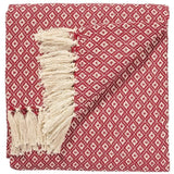 Fairtrade Diamond Weave Throw Red 130 x 180cms-Soft Furnishings-Retail Therapy Interiors