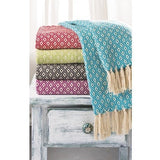 Fairtrade Diamond Weave Throw Sage 130 x 180cms-Soft Furnishings-Retail Therapy Interiors
