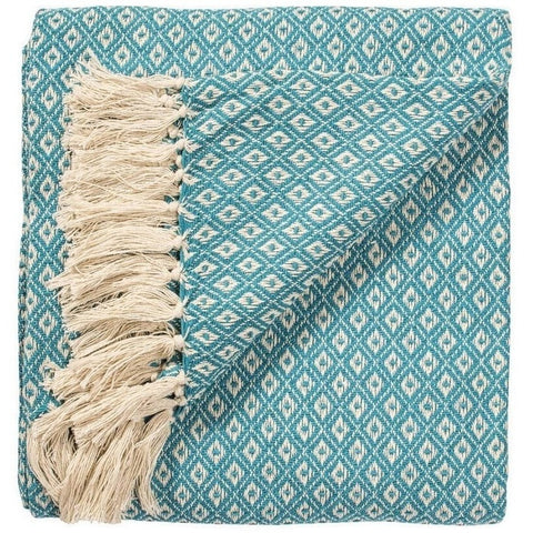 Fairtrade Diamond Weave Throw Turquiose 130 x 180cms-Soft Furnishings-Retail Therapy Interiors