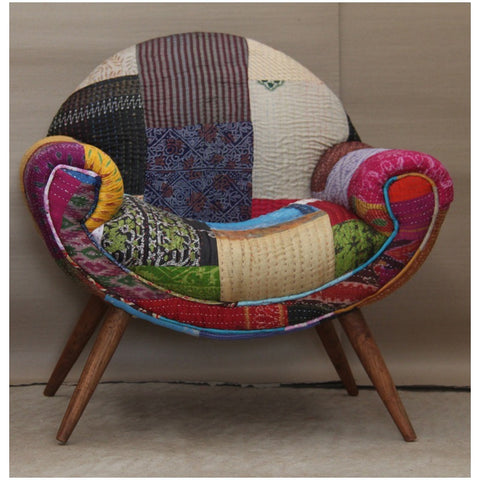 Fairtrade Retro Kantha Nest Chair-Furniture-Retail Therapy Interiors