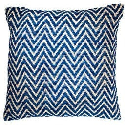 Fancy Recycled Yarn Cushion Arrow Indigo-Soft Furnishings-Retail Therapy Interiors