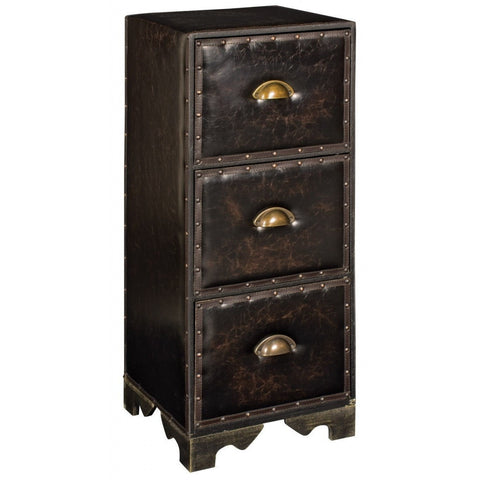 Faux Leather 3 Drawer Cabinet 83cm-Furniture-Retail Therapy Interiors