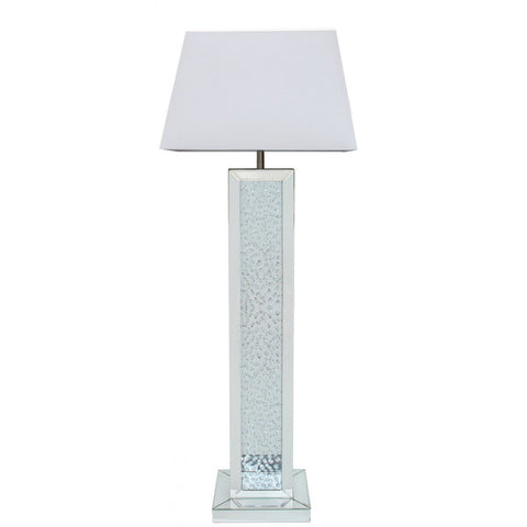 Floating Mirror Floor Lamp With Rectangular White Shade-Lighting-Retail Therapy Interiors