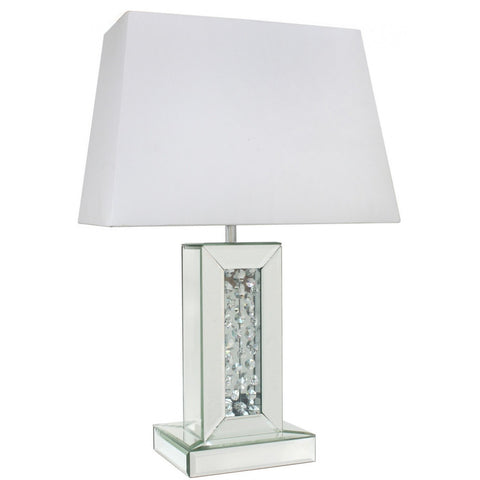 Floating Mirror Small Table Lamp With Rectangular White Shade-Lighting-Retail Therapy Interiors