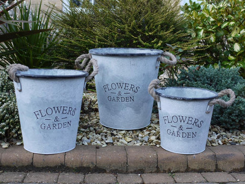 Galvanised Metal Buckets-Accessories-Retail Therapy Interiors