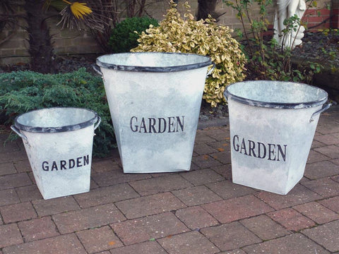 Galvanised Metal Garden Planters-Accessories-Retail Therapy Interiors