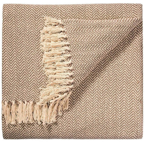 Geometric Handloom Throw Beige Herringbone-Soft Furnishings-Retail Therapy Interiors