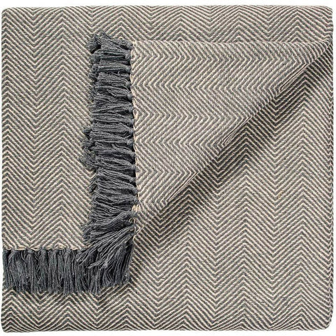 Geometric Handloom Throw Grey Herringbone-Soft Furnishings-Retail Therapy Interiors
