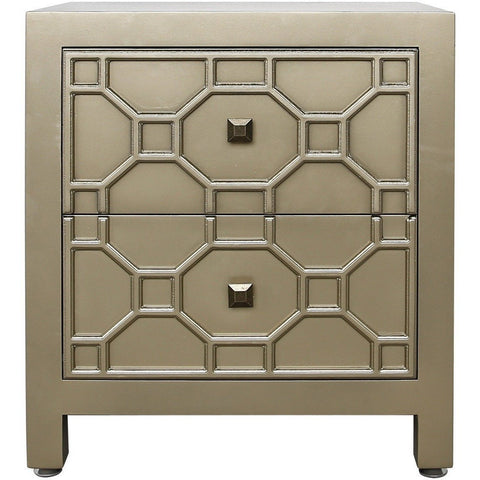 Geometric Wooden 2 Drawer Cabinet-Furniture-Retail Therapy Interiors