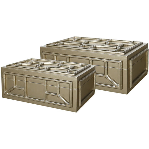 Geometric Wooden Set of 2 Storage Boxes-Furniture-Retail Therapy Interiors