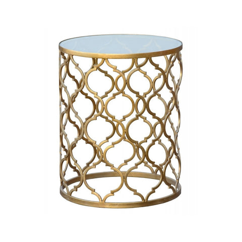 Gin Shu Parisienne Round Metal Side Table Gold-Furniture-Retail Therapy Interiors