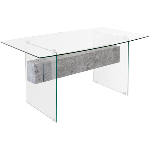 Glass Dining Table with Concrete Style Shelf-Furniture-Retail Therapy Interiors