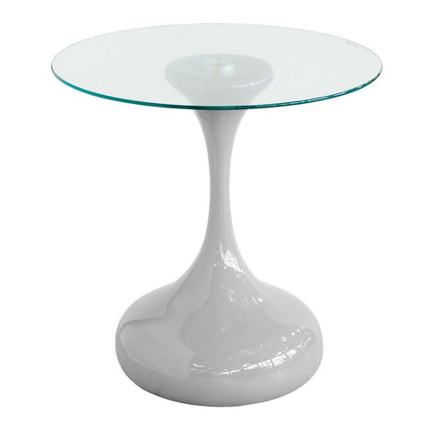 Grey Round Glass Top Side Table-Furniture-Retail Therapy Interiors