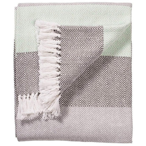 Herringbone Stripe Handloom Throw Aqua 130 x 180cms-Soft Furnishings-Retail Therapy Interiors