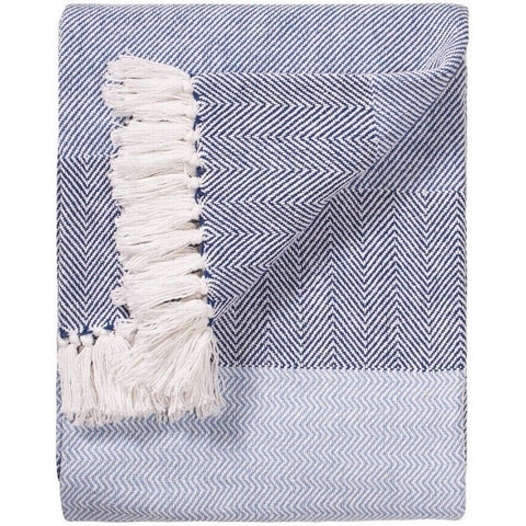 Herringbone Stripe Handloom Throw Blue 130 x 180cms-Soft Furnishings-Retail Therapy Interiors