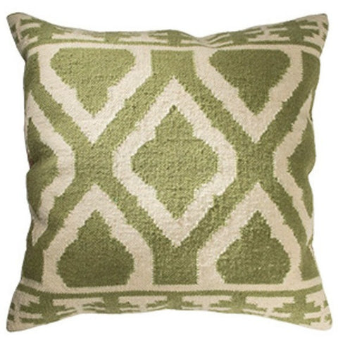 Jalandar Kilim Wool and Cotton Large Cushion Sage-Soft Furnishings-Retail Therapy Interiors