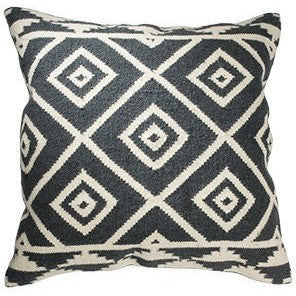 Kashgar Kilim Wool and Cotton Large Cushion Charcoal-Soft Furnishings-Retail Therapy Interiors