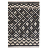 Kashgar Kilim Wool and Cotton Rugs Charcoal-Soft Furnishings-Retail Therapy Interiors