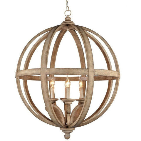 Large Wood Globe Statement Chandelier W83 x H115cms-Lighting-Retail Therapy Interiors