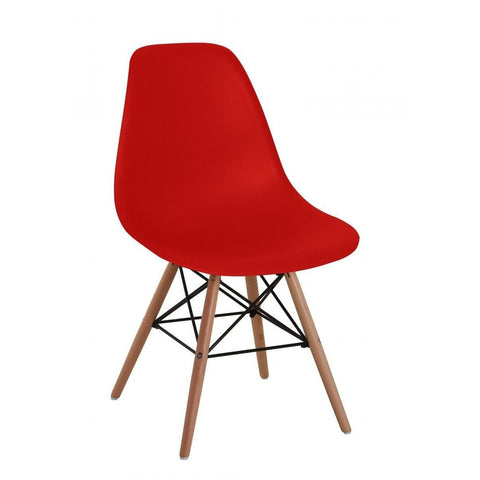 Lilly Plastic Chair with Beech Legs in Red-Furniture-Retail Therapy Interiors