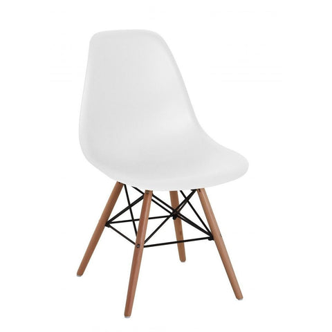 Lilly Plastic Chair with Beech Legs in White-Furniture-Retail Therapy Interiors