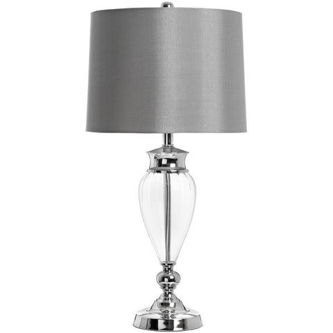 Lucca Glass Chrome Grey Table Lamp 69cm-Lighting-Retail Therapy Interiors