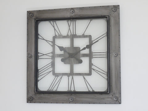 Metal and Glass Wall Clock-Clocks-Retail Therapy Interiors