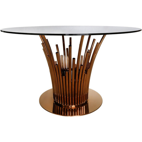 Metal & Glass Tubular Dining Table Rose Gold-Furniture-Retail Therapy Interiors