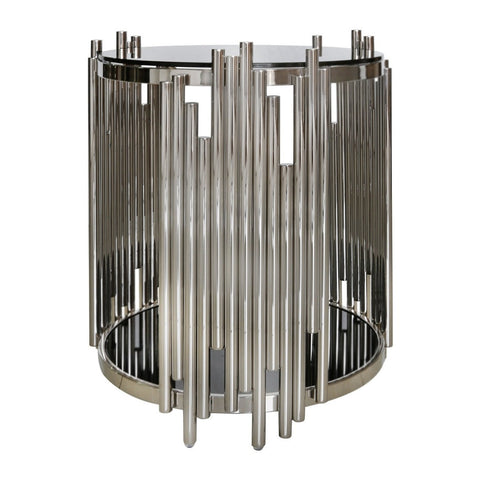 Metal & Glass Tubular End Table-Furniture-Retail Therapy Interiors