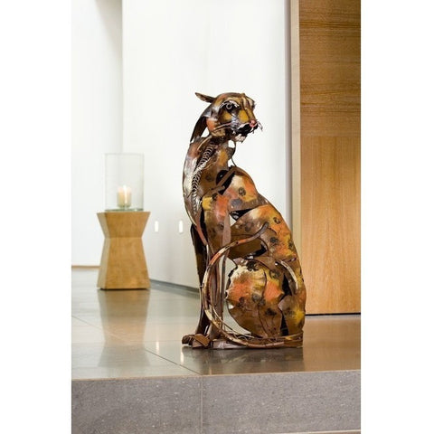 Metal 'Serengeti Hunter' Wild Cat Sculpture-Accessories-Retail Therapy Interiors