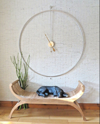 Minimalist Large Circle Silver Wall Clock-Clocks-Retail Therapy Interiors