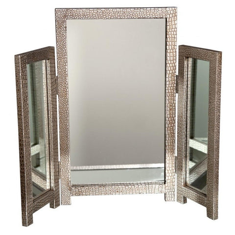 Mirror Moc Croc Silver Triple Dressing Table Mirror-Mirrors-Retail Therapy Interiors