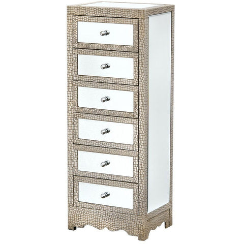 Mirrored Moc Croc Chest of Drawers-Furniture-Retail Therapy Interiors