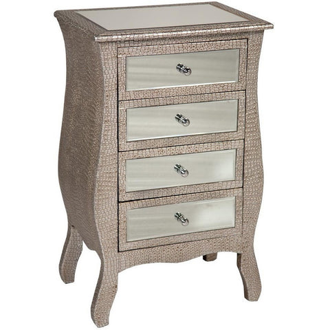 Mirrored Moc Croc Curvy Chest of Four Drawers-Furniture-Retail Therapy Interiors