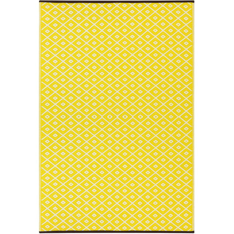 Outdoor Recycled Plastic Arabian Nights Yellow Rug-Soft Furnishings-Retail Therapy Interiors