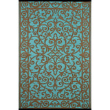 Outdoor Recycled Plastic Gala Blue Turquoise and Gold Rug-Soft Furnishings-Retail Therapy Interiors